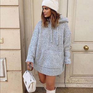 Zara Knit Hooded Oversized Sweatshirt Sweater